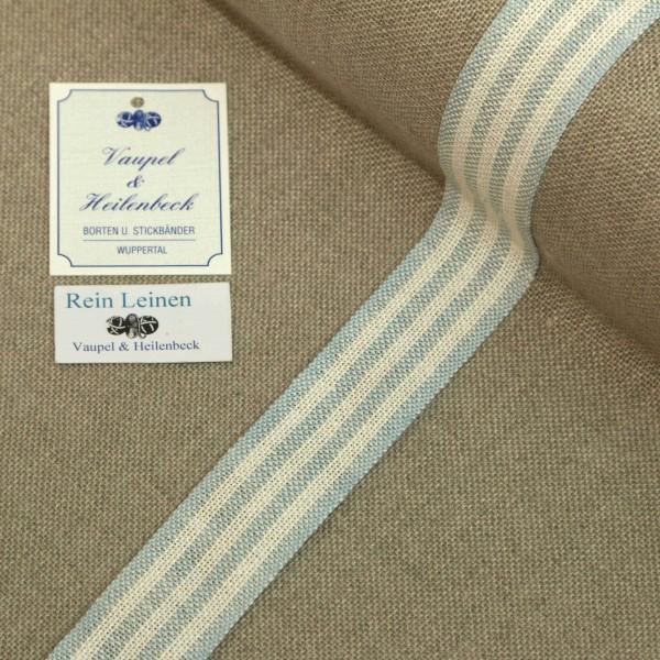 Leinenband 30 mm, 11-fädig, gestreift, Farbe 221, gebleicht - rauchblau