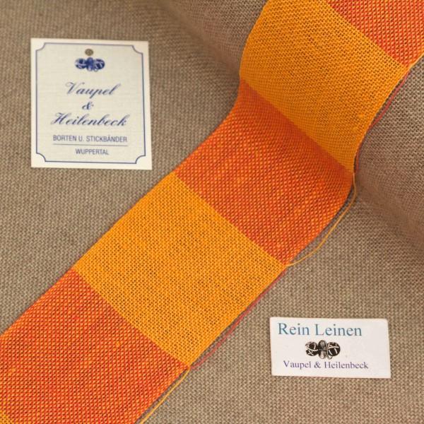 Leinenband 50 mm, 11-fädig, kariert, Farbe 222, orange - hummer meliert