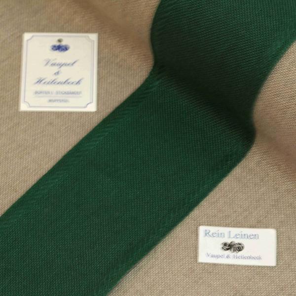 Leinenband 70 mm, 11-fädig, Rand gestreift, Farbe 209, grün - grün