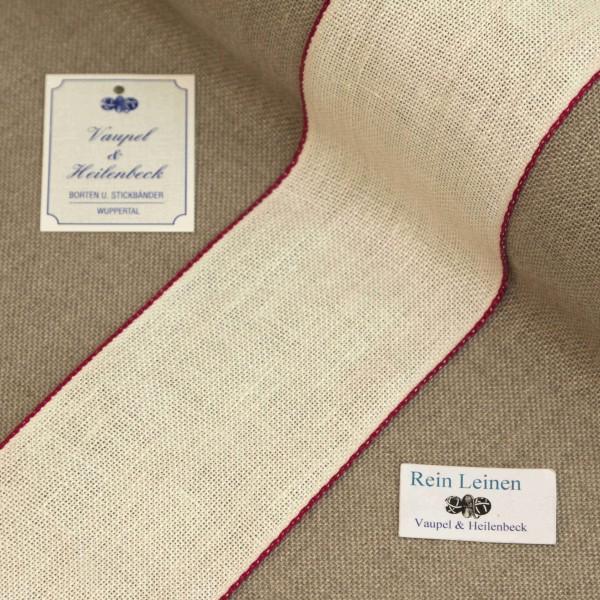 Leinenband 70 mm, 11-fädig, Farbe 43, gebleicht - Rand weinrot
