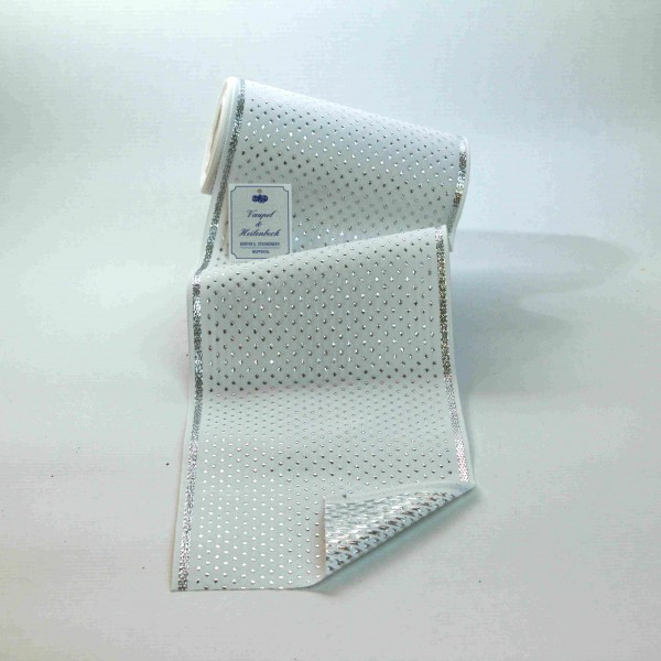 Schmuckborte (Tischband) 155 mm, Farbe 011, weiß - silber