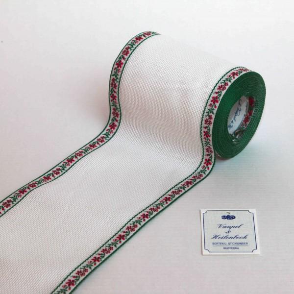 Aida-Stickband 100% BW, 100 mm, Farbe 8, weiß - Ranke grün