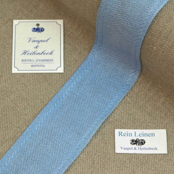 Leinenband 40 mm, 11-fädig, Rand gestreift, Farbe 212, hellblau - hellblau