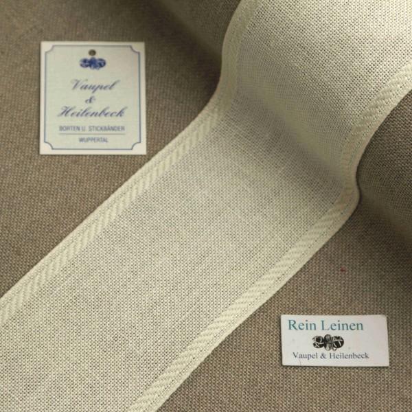 Leinenband 70 mm, 11-fädig, Rand gestreift, Farbe 1, gebleicht - gebleicht