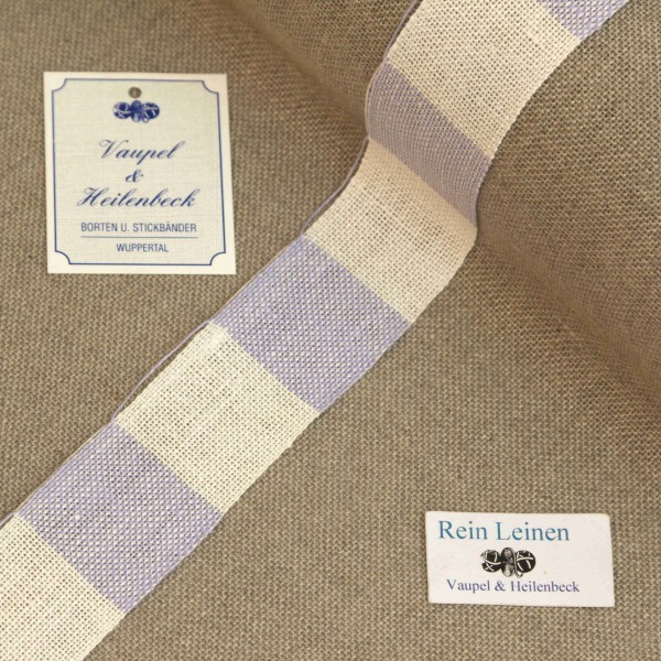 Leinenband 30 mm, 11-fädig, kariert, Farbe 900227, gebleicht - hell violett meliert