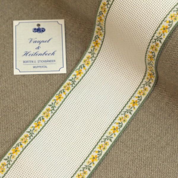 Aida-Stickband 100% BW, 60 mm, Farbe 4, weiß - Ranke gelb