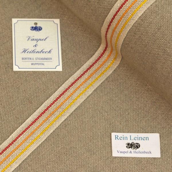 Leinenband 20 mm, 11-fädig, Rand gestreift, Farbe 104, meliert - 3 farbig