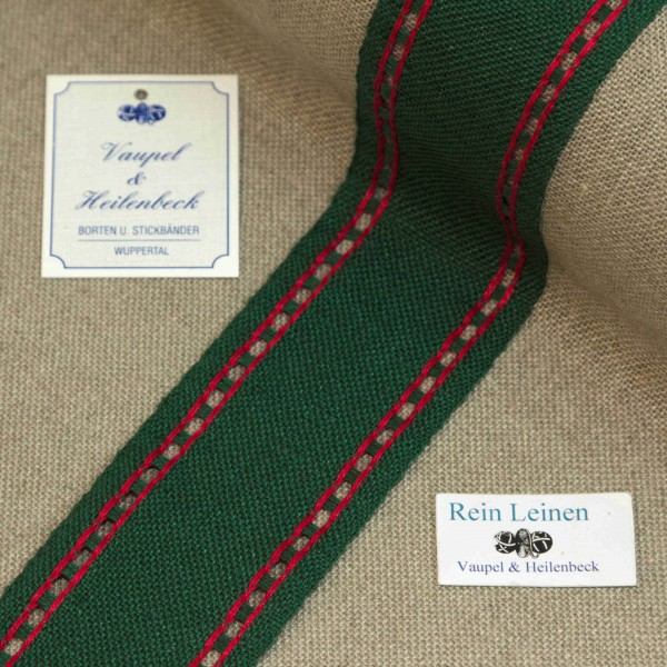 Leinenband mit Lochrand, 11-fädig, 50 mm, Farbe 208, grün - rot