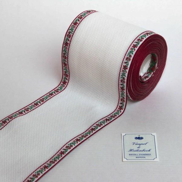 Aida-Stickband 100% BW, 100 mm, Farbe 48, weiß - Ranke weinrot